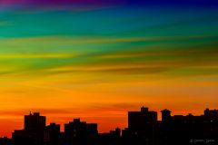 Multi-colored sunset clouds over Uptown, Chicago, June 2020
